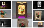 Piquants de pot de fleur miniature avec boîte en bois - abat jour nuit