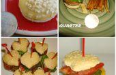 Mini en forme de hamburgers fromage avec Français frites de coeur