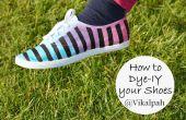 Tournez vos chaussures de toile blanche en triple coloré aux tons rayés chaussures à l'aide de colorant