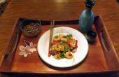 Sauté de crevettes aux oignons verts & piments rouges