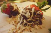 Couverts de chocolat noix de coco rhum fraises