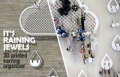Boucle d'oreille nuages - affichage 3D de bijoux imprimés