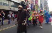 Costume d'Halloween avec masque de squelette, mains mécaniques, sonores réactives boules oeil de LED, une chute tête truc et