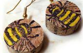 Vin de Liège abeille boucles d'oreilles