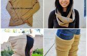 Upcycle une laine pull dans un cercle foulard capuchon et jambières