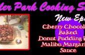 Chocolat cuit Donut Pudding avec Malibu Margarine sauce aux cerises