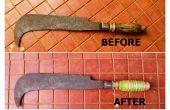 Poignée de machette fissuré avec des élastiques de restauration