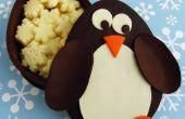 Boîtes de pingouin au chocolat rempli de flocons de neige au chocolat blanc