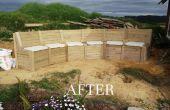 Sièges de jardin, incorporant le mur de soutènement