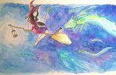Illustrant une sorcière et son chat à l'aquarelle
