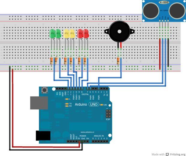 D 233 Tecteur De Distance Arduino Avec Un Led Et Buzzer