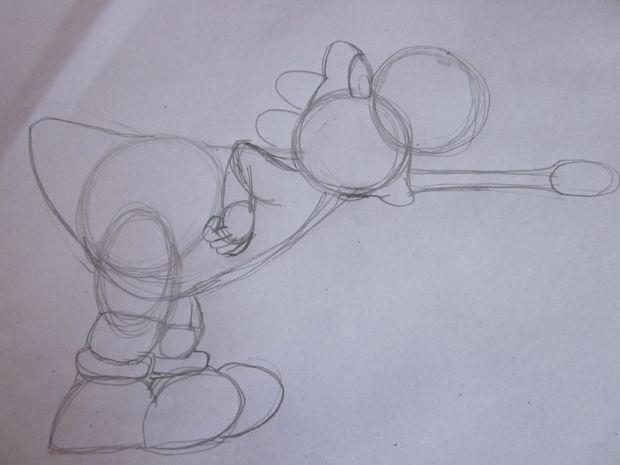 Comment Dessiner Yoshi De Mario Etape 2 Dessiner Les Formes De