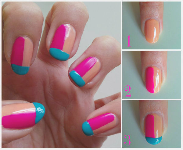3 colors nail art