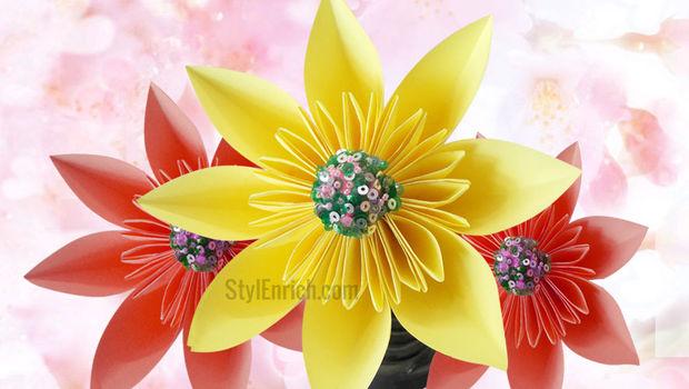 fleur en papier de bricolage comment faire des fleurs kusudama facile tape 6 votre beau et. Black Bedroom Furniture Sets. Home Design Ideas