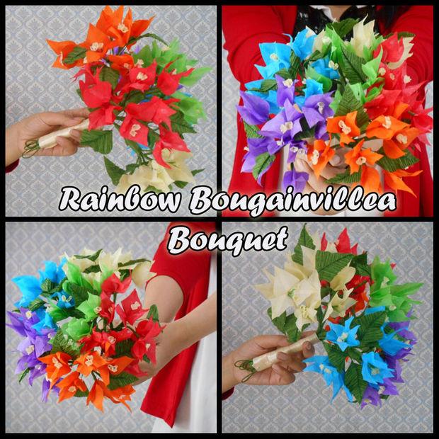 Fleurs De Papier De Soie Bouquet Rainbow Bougainvillea Tubefr Com