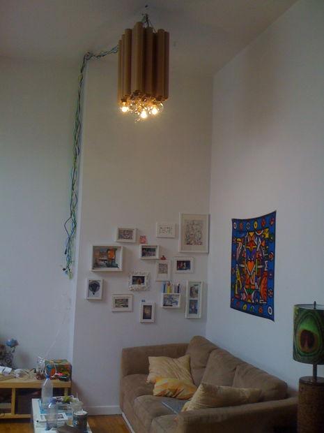 r cup r le lustre diy tube carton. Black Bedroom Furniture Sets. Home Design Ideas